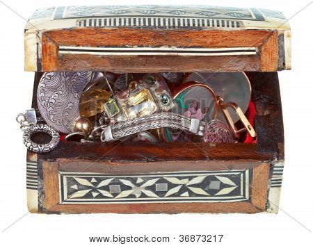 Small Treasure Wooden Chest With Jewel