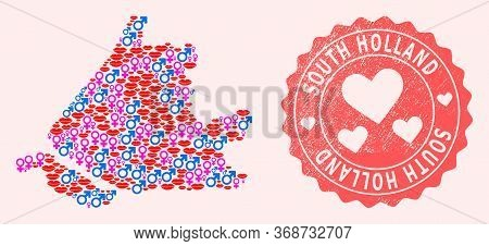 Vector Composition Of Love Smile Map Of South Holland And Red Grunge Seal Stamp With Heart. Map Of S