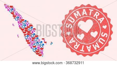 Vector Composition Of Love Smile Map Of Sumatra Island And Red Grunge Stamp With Heart. Map Of Sumat