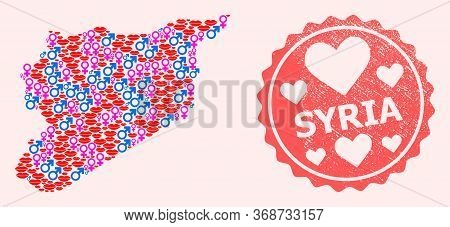 Vector Collage Of Sexy Smile Map Of Syria And Red Grunge Stamp With Heart. Map Of Syria Collage Form