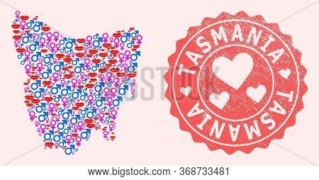 Vector Collage Of Sexy Smile Map Of Tasmania Island And Red Grunge Stamp With Heart. Map Of Tasmania