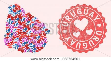 Vector Collage Of Love Smile Map Of Uruguay And Red Grunge Seal With Heart. Map Of Uruguay Collage C