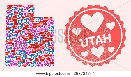 Vector Composition Of Love Smile Map Of Utah State And Red Grunge Seal With Heart. Map Of Utah State