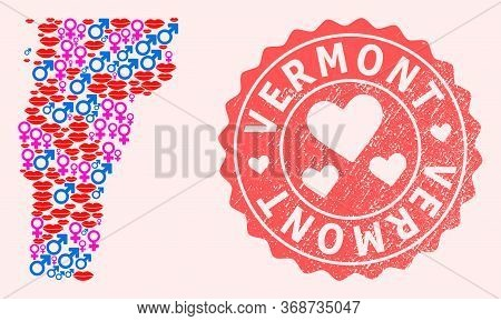 Vector Collage Of Love Smile Map Of Vermont State And Red Grunge Seal Stamp With Heart. Map Of Vermo
