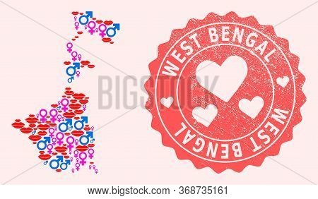 Vector Collage Of Love Smile Map Of West Bengal State And Red Grunge Seal With Heart. Map Of West Be