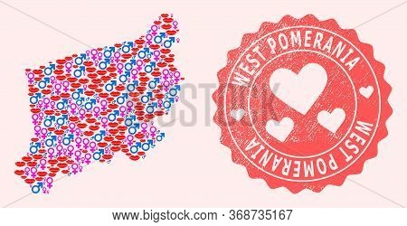 Vector Collage Of Love Smile Map Of West Pomerania Province And Red Grunge Seal Stamp With Heart. Ma
