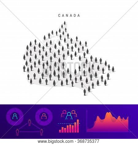 Canadian People Icon Map. Detailed Vector Silhouette. Mixed Crowd Of Men And Women. Population Infog