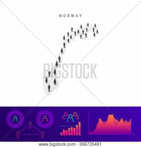 Norwegian People Icon Map. Detailed Vector Silhouette. Mixed Crowd Of Men And Women. Population Info