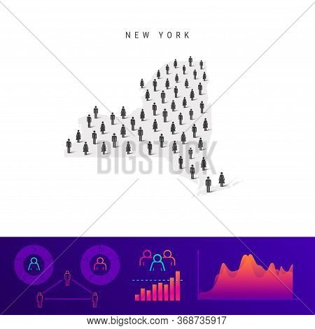 New York People Map. Detailed Vector Silhouette. Mixed Crowd Of Men And Women Icons. Population Info