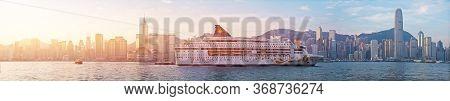 Hong Kong - Jan 13: Victoria Harbor On Jan 13, 2016 In Hong Kong. Big Cruise Ship Departed From Ocea