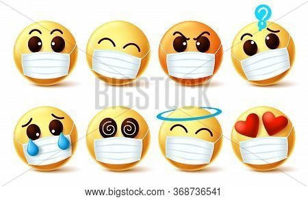 Emoji With Covid-19 Face Mask Vector Set. Emoji Emoticon With Facial Expressions Wearing Facemask To