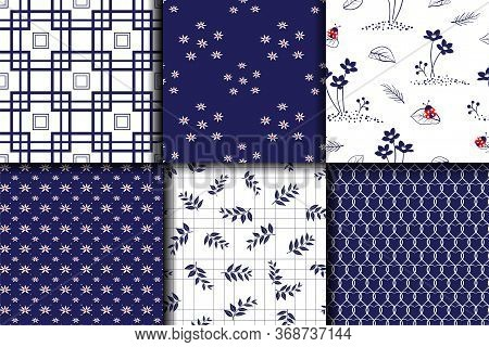 Monotone Blue Set Collection Seamless Pattern For Decorative,fabric,textile,print Or Wallpaper,vecto