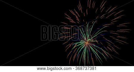 Sparkle Fireworks In Night Sky On Fourth Of July Independence Day Holiday United State Of America. C