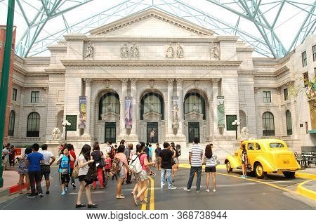 Sentosa, Sg - April 5 - Universal Studios Singapore New York Theme Public Library Facade On April 5,