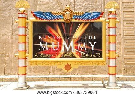 Sentosa, Sg - April 5 - Universal Studios Singapore Revenge Of The Mummy Sign On April 5, 2012 In Se