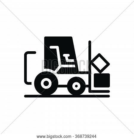 Black Solid Icon For Fork-lift Fork Lift Truck Delivery Warehouse