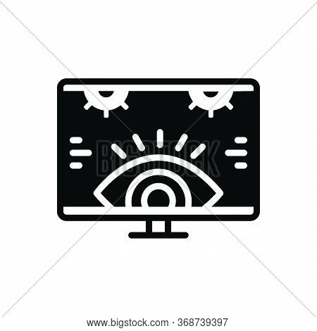 Black Solid Icon For Monitoring Investigation Technology Surveillance  Supervision