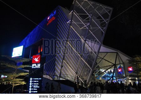 Sentosa, Sg - April 5 - Ifly Singapore Indoor Skydiving Facade At Night On April 5, 2012 In Sentosa,