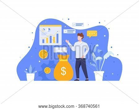 Analyze And Manage Investment. Investment And Analysis Money Cash Profits, Employee Or Manager Makin