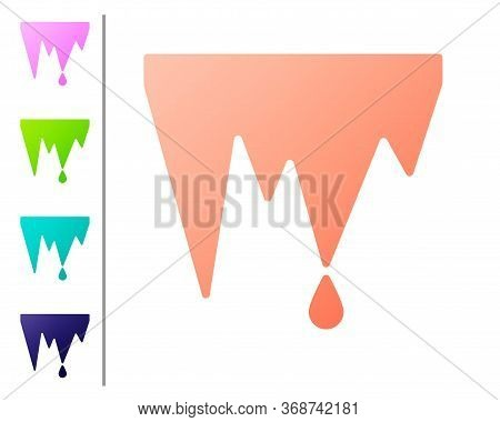 Coral Icicle Icon Isolated On White Background. Stalactite, Ice Spikes. Winter Weather, Snow Crystal