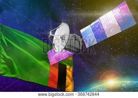 Satellite With Zambia Flag, Space Communications Technology Concept - 3d Illustration