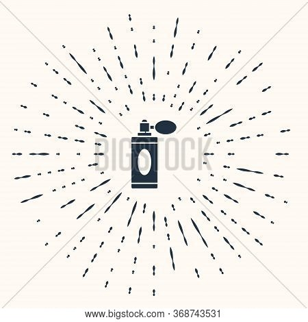 Grey Aftershave Bottle With Atomizer Icon Isolated On Beige Background. Cologne Spray Icon. Male Per