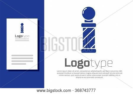 Blue Classic Barber Shop Pole Icon Isolated On White Background. Barbershop Pole Symbol. Logo Design