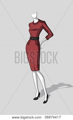 Woman in dark red dress