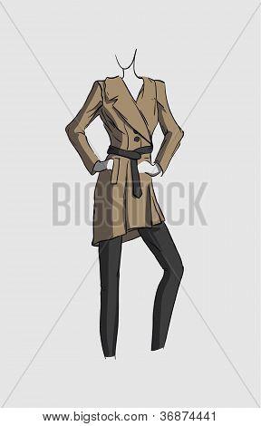 Woman in brown coat