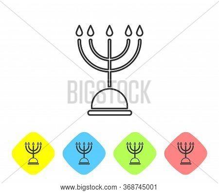 Grey Line Hanukkah Menorah Icon Isolated On White Background. Hanukkah Traditional Symbol. Holiday R