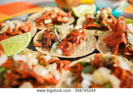 Fresh Mexican Tacos Al Pastor With Lemon And Sauce In Mexico