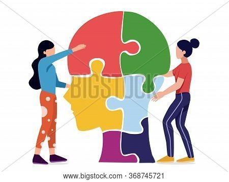 Mental Health , Illness,brain Development ,medical Treatment  Concept,people Do Jigsaw Puzzle Of  He