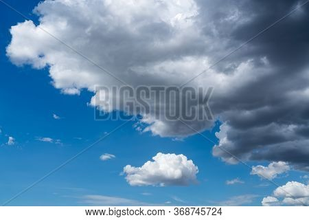 Cloudscape In The Blue Sky. White Clouds In The Beautiful Blue Sky.