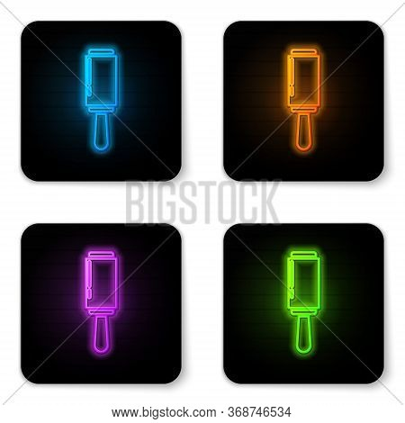 Glowing Neon Adhesive Roller For Cleaning Clothes Icon Isolated On White Background. Getting Rid Of