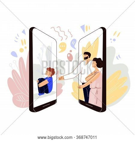 Parents Meeting Online With Kids - Vector Flat Concept. Man And Woman Sharing Love And Sympathy With
