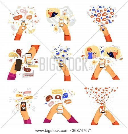 Vector Flat Hands With Phone Illustrations. Communication Online, Smartphone Chat, Video Call With F