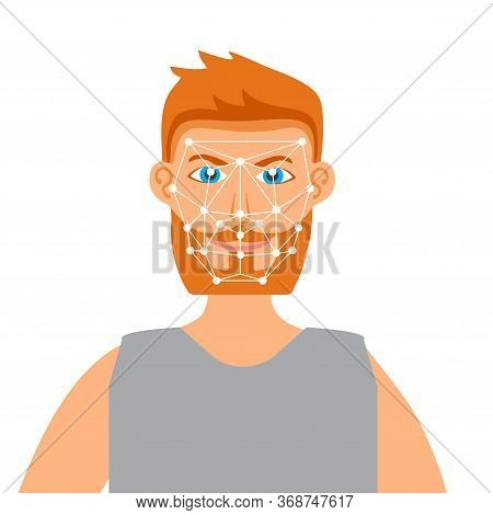 Face Recognition Illustration. Control Of People's Movements. Monitoring Of Buyers And Visitors Of T