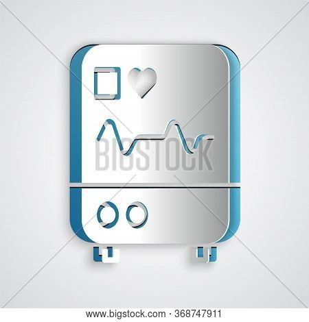 Paper Cut Computer Monitor With Cardiogram Icon Isolated On Grey Background. Monitoring Icon. Ecg Mo