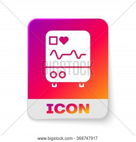 White Computer Monitor With Cardiogram Icon Isolated On White Background. Monitoring Icon. Ecg Monit