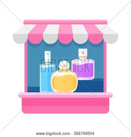 Storefront Pink Of Perfume Shop Isolated On White, Perfume Store Front For Symbol Shop Online Ad, Cl