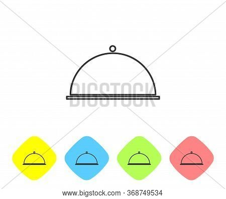 Grey Line Covered With A Tray Of Food Icon Isolated On White Background. Tray And Lid. Restaurant Cl