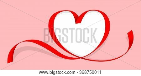 Ribbon Red Heart Shape Isolated On Red, Copy Space, Ribbon Line Red Heart-shaped, Heart Shape Ribbon