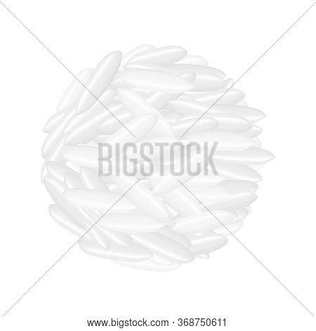 Rice Seed Raw Isolated On White, Grains Rice And Paddy Seed Close-up, Pile Rice Grains, Illustration