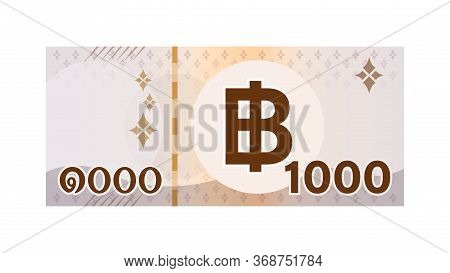 Thai 1000 Baht Banknote Money Isolated On White, Thai Currency One Thousand Thb, Money Thailand Baht