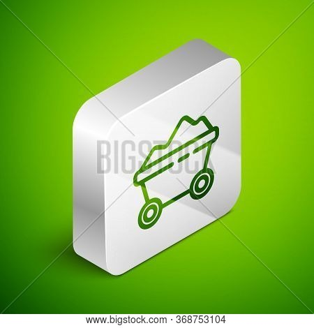 Isometric Line Coal Mine Trolley Icon Isolated On Green Background. Factory Coal Mine Trolley. Silve