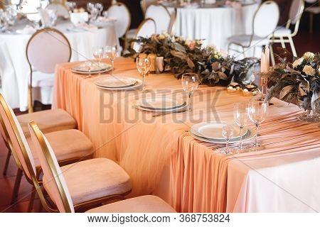 Presidium Table Setting With Empty Wine Glasses