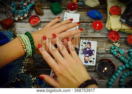 Moscow. Russia. March 2020. Tarot Card Reading. The Fortune Teller Predicts The Future. Reading Dest