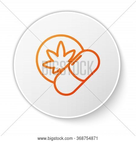 Orange Line Herbal Ecstasy Tablets Icon Isolated On White Background. White Circle Button. Vector Il