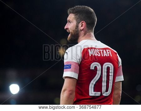 London, England - May 2, 2019: Shkodran Mustafi Of Arsenal Pictured During The First Leg Of The 2018