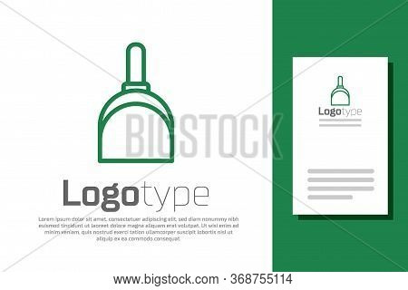 Green Line Dustpan Icon Isolated On White Background. Cleaning Scoop Services. Logo Design Template